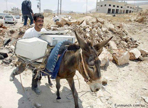 Travel tips portraying man pushing donkey loaded with computers