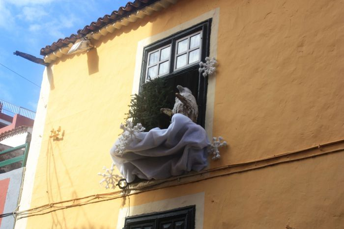 Unusual Christmas decorations outside in 2016 in Puerto de la Cruz of Tenerife.