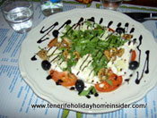 Meat free food Rucola Salad with food art Tenerife
