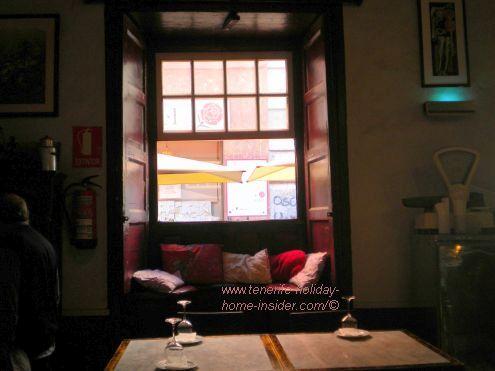 Vintage restaurant Hierbita Santa Cruz de Tenerife with most unique architectural window seating.