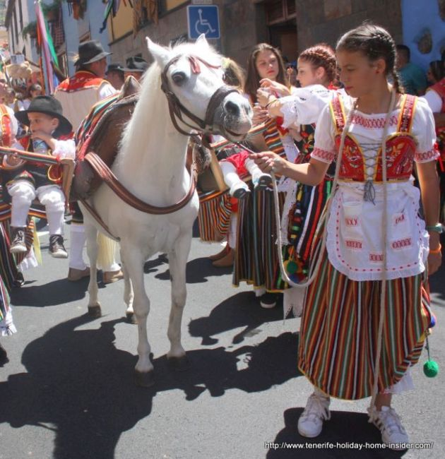 Young mare with small children in car seats during Romeria Los Realejos of 2017.